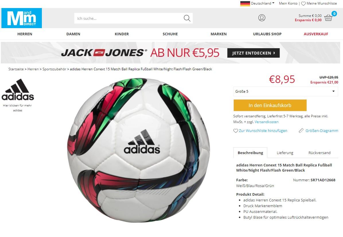 Adidas Conext 15 Match Ball Replica Fußball für nur 8,95 €