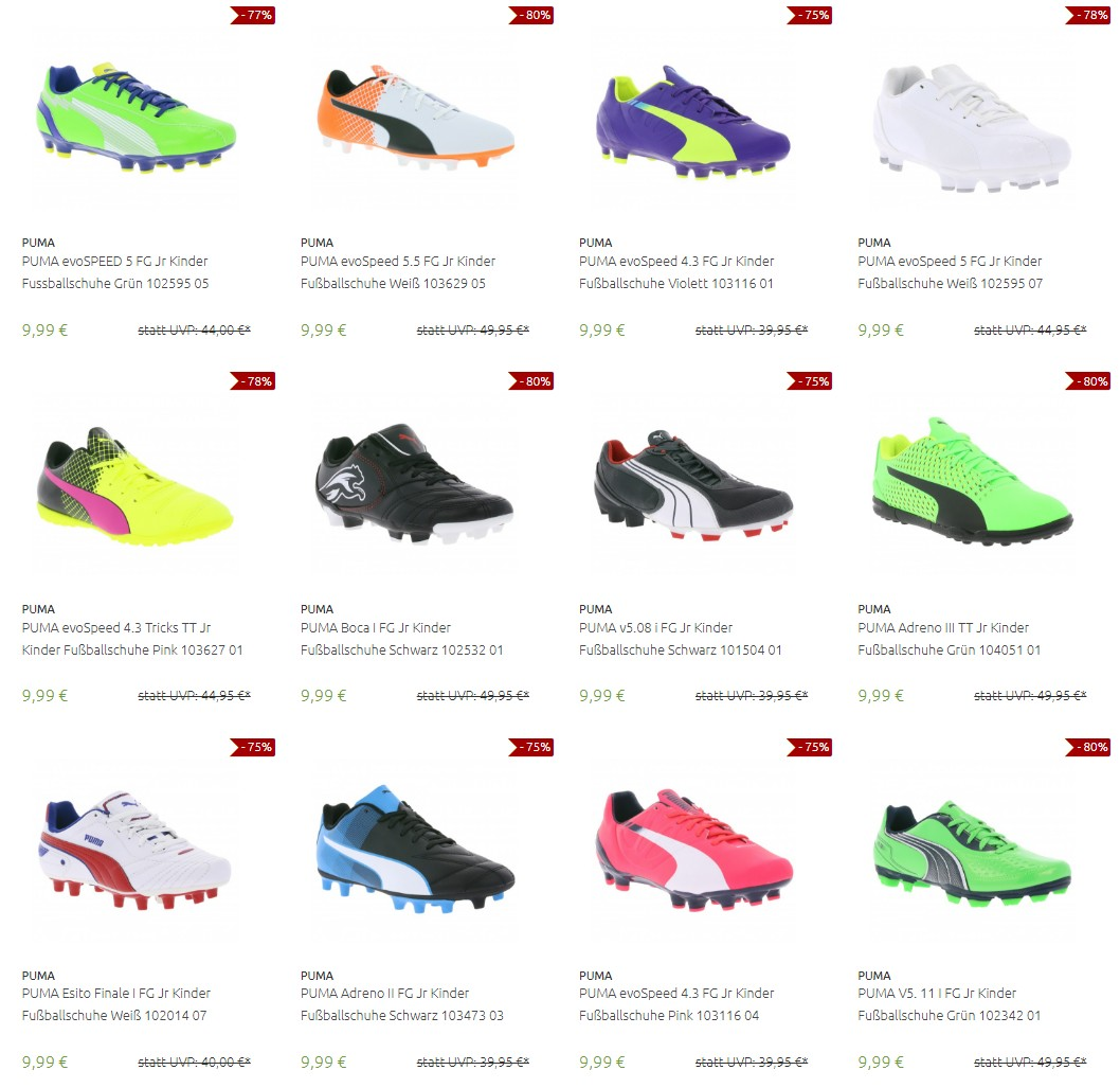 Kinder Fußballschuhe von Nike, Puma und adidas bis zu 80